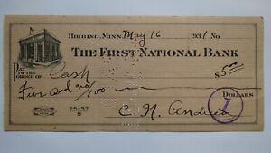 $5 1931 Hibbing Minnesota MN Cancelled Check! First National Bank