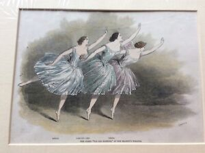 Antique engraving of dancers on stage in London show signed by artist c. 1847