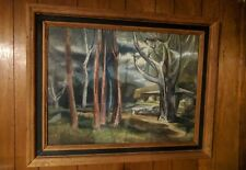 "Robert E Wood 1926-1999 Oil Painting Original Cabin In The Forest 22""x30"" 1952"