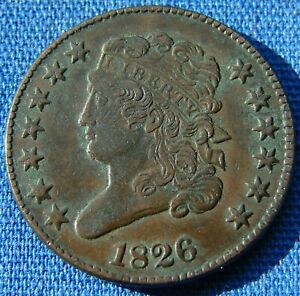 """*VERY NICE LOOKING 1826 HALF CENT """"FULLY ROTATED DIE"""" - ESTATE FRESH*"""