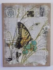 Butterfly Monarch Burlap Canvas Original Artwork Wall Decor