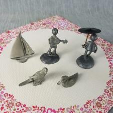 Pewter People by Hunter 2 Spoontiques Parrot & Duck 1 unk Sailboat Vtg 5 Pcs  -1