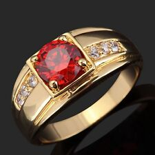 Fashion Jewelry Size 9 Halo Garnet Engagement Womens Mens 18k Gold Filled Ring
