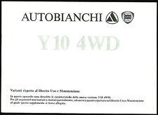 SUPPLEMENTO LIBRETTO USO MANUTENZIONE AUTOBIANCHI Y10 4WD - 2° ED. (II-1987)