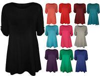 New Womens Short Sleeve Flared Swing Dress Ladies Long Plain Tunic Top Plus Size