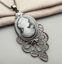 Betsey Johnson Gray Cameo Charm Pendant Sweater Chain Necklace