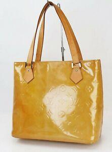 Authentic LOUIS VUITTON Houston Beige Vernis Tote Bag Purse #40546