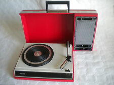 1970s  Philips 22GF403 red suitcase type Portable vintage Record player