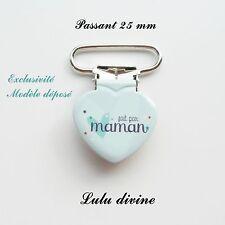 1 Pince Coeur, Attache tétine bleue coeur Fait par maman passant de 25 mm