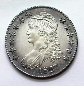1827 CAPPED BUST SILVER 50 CENTS NEAR GEM UNC NICE TONING!! RARE THIS NICE!!