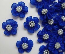 "1-1/8"" Royal Blue 2-Layers Organza Ribbon Flowers w/ Beads- 24 pcs-R0108DR"