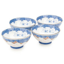Blue Cat Japanese Rice Bowl Set