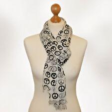 BNWT trendy peace print scarf peace scarf peace head wrap scarf pashmina WHITE