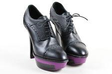 "Louis Vuitton Black Purple Pebbled Leather ""Sally"" Lace Up Platform Booties SZ 9"