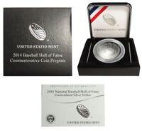 2014 P $1 Baseball Hall Of Fame Silver BU Coin With Box COA