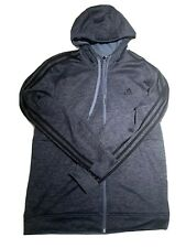 Adidas Fleece Lined Hooded Gray Heather Full Zip Jacket Men's Size Medium