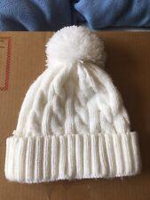 Paloma Blanco Pom Pom de Punto Beanie Sombrero de un tamaño de invierno de esquí