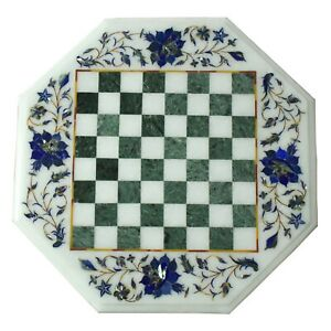 "15"" White Marble Chess Table Top Semi Precious Stone Inlay Floral Art Home Decor"