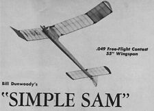 """Model Airplane Plans (FF): SIMPLE SAM 55"""" Contest for 1/2A by Bill Dunwoody"""