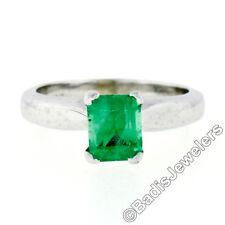 Vintage Mayor's Solid Platinum 0.61ct Emerald Cut Emerald Petite Solitaire Ring