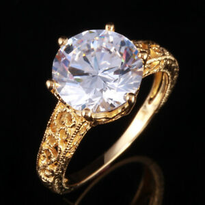 6.8CT 10mm Round Cubic Zirconia 10K Yellow Gold Hollow Engagement Wedding Ring