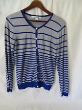 Forever 21 Cardigan Sweater Button Front Long Sleeve Blue Gray Stripe Lg #6195