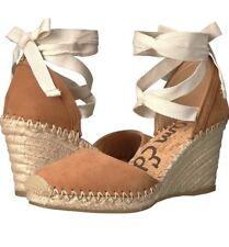 Sam Edelman Patsy Wedge Espadrilles Shoes Ankle Tie Brown Saddle Suede Sz 7.5 M
