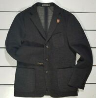 New Scotch & Soda Tailored Men's Jacket Size L Black Wool Blazer Christmas
