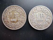 1911 B & 1913 B SWITZERLAND, SWISS 1 FRANC .835 SILVER COINS
