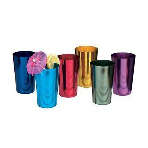 ALUMINUM TUMBLERS Retro Jewel Aluminum Colored Tumblers Cups Set of 6, Multic...
