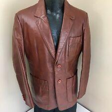 Vtg Men's BROWN Sport Coat GENTLEMENS CAR Jacket LEATHER CLUB Blazer 40 R