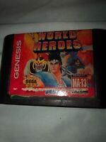 World Heroes Sega Genesis Vintage classic original retro game cartridge  See Pic