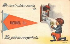 """Girls Are Very Particular in Freeport IL~Wet Boy Needs Rubber Coat~1913 Pennant"