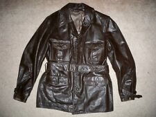 Vintage Brown Leather Jacket Club Car Coat Chore Motorcycle Men's Size 40 RARE