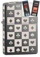Zippo 29082 all 4 card suits 5 sided Lighter with *FLINT & WICK GIFT SET*