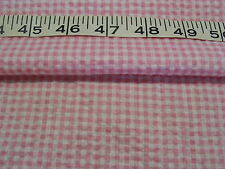 """A176  FABRIC PolyesterCotton? Print Seersucker- Like Pink Checked 59"""" W 2 Yds"""