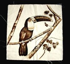 TOUCAN Bird Painting Dragon Blood Sap on Cotton Amazon Rainforest Peru 15x15