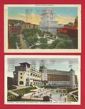 Canada Montreal Dominion Sq. 1946 & Chateau Lake Louise 1952 Lot of 2 Postcards