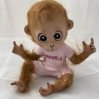 Creepy CERAMIC MONKEY Trouble Unknown Origin And Year Trimmed With Fur
