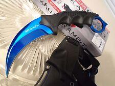 Honshu Blue Titanium Dagger Combat Karambit Claw Knife Full Tang UC2786B CSGO