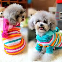 Striped Pet Dog Sweater Apparel Winter Cat Puppy Hoodie Warm Chihuahua Clothing