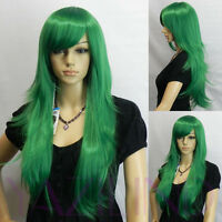 Long Straight Women Party Wigs Side-Swept Bangs Layered Cosplay Full Hair Wig