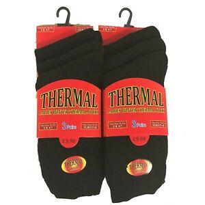 3 6 12 Pairs Ladies Thermal Socks Black Thick SKI Casual Outdoor Boot Work Wear