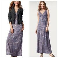 CAbi Medium Patio Maxi Dress V-Neck Style 852 Purple Casual Dress