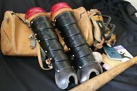 Vintage 1970's Baseball Catcher's equipment bag with equipment included