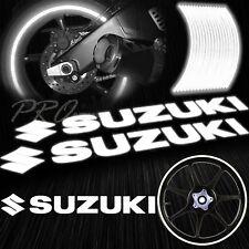 "8"" Reflective Logo Decal+16"" 17"" 18"" Rim Tape/Wheel Stripe Sticker Suzuki White"