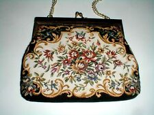 Tapestry Brocade Floral Black Gold Purse Handbag w Metal Chain & Clasp (eth)