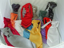 <Clearance > 12 BOYS Assorted Colours Polyester Ruche Wedding Tie-Cravat-Pageboy