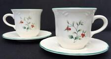 Pfaltzgraff WINTERBERRY Set of 2 Cup & Saucers Green Red Berries XLNT Cond