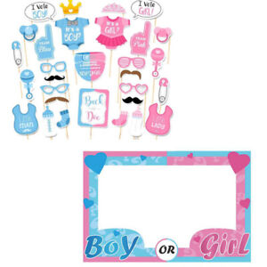 30pcs Boy or Girl Baby Shower Photo Booth Props Frame New Born Party Decoration